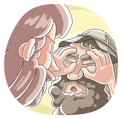 Cartoon of Jesus healing blind man
