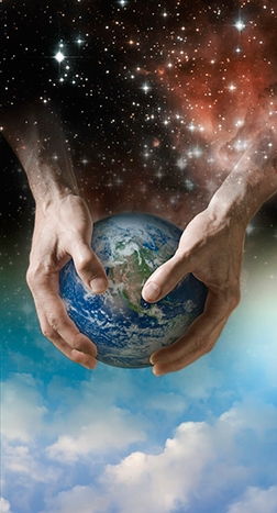 Photo-illustration of creation: God's hands forming the earth