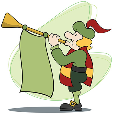 Cartoon of a royal announcer proclaiming with trumpet and banner