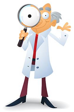 Doctor with magnifying glass