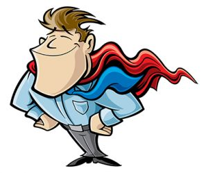 Confident man with superhero cape