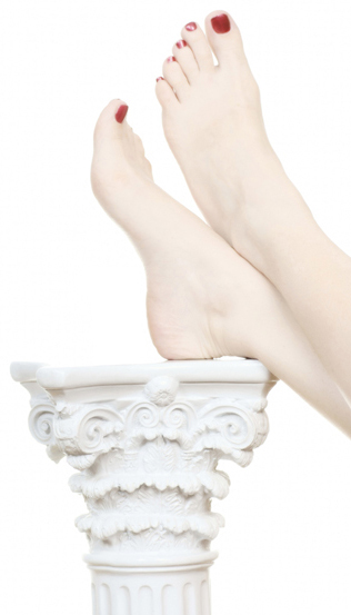 feet on a column, woman relaxing